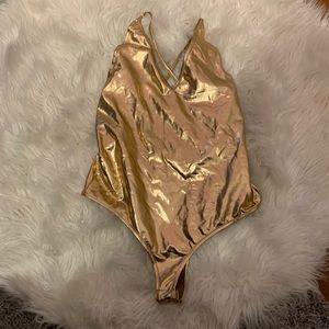 Gold Metallic Criss Cross Back Bodysuit NWT